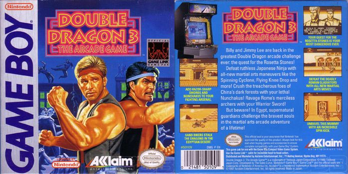 Double Dragon Dojo Double Dragon 3 Game Boy Version Review